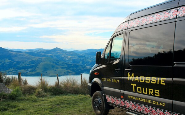 Maossie Tours luxury mini-coach travel (here pictured at at Akaroa, Banks Peninsula)